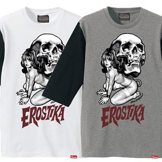 "Erostika 經典圖樣""SKULL & GIRL"" 七分袖棒球衫"