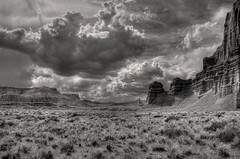 Cathedral Valley (arbyreed) Tags: red sky blackandwhite bw clouds landscape desert scenic sage capitalreefnationalpark cathedralvalley redrockcountry arbyreed backcountryutah