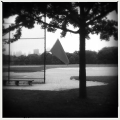ballfields are closed (robzand) Tags: nyc newyorkcity red centralpark manhattan flag greatlawn