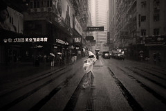 (briyen) Tags: city urban bw wet rain dark bay crossing crowd run hong kong busy pour causeway drenched flickrchallengegroup flickrchallengewinner thepinnaclehof tphofweek187