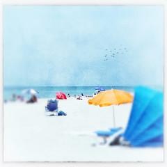 by the beautiful sea ~ (FLGalleria) Tags: blue texture beach sunshine yellow umbrella square focus soft cabana dreamy ipad canont2i