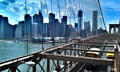 Lower Manhattan, view from the Brooklyn Bridge (Arutemu) Tags: street city nyc newyorkcity travel sky urban panorama usa ny newyork skyline america us cityscape view scenic scene american scenes hdr