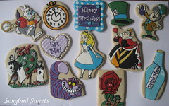 Alice in Wonderland (Songbird Sweets) Tags: madhatter aliceinwonderland cheshirecat sugarcookies queenofhearts whiterabbit songbirdsweets