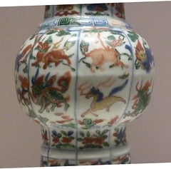 'Wucai' [polychrome] porcelain 'Gu' (vessel) with Auspicious animals design (sftrajan) Tags: china ceramics beijing muse museo   porcelain peking chineseart mingdynasty    nationalmuseumofchina  mingdynastie  chineseceramics wucai  zhnggugujibwgun chinesischesnationalmuseum  musenationaldechine  wanlireign