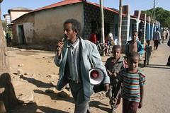 Man speaking on a megaphone about Polio vaccination (UNICEF Ethiopia) Tags: unicef ethiopia campaign megaphone polio vacciantion