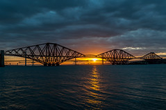 Sunset at the Bridges (Johnny_7) Tags: road bridge sunset sea sky sun seascape water clouds river landscape scotland edinburgh famous capital transport rail estuary forth firth queensferry waterscape