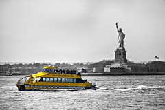 Hudson River (PrettyHungry) Tags: city nyc newyorkcity travel ny newyork love water statue river taxi hudsonriver hudson statueofliberty iconic ellisisland watertaxi ladyliberty