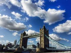 London, Tower Bridge  (|| Rehnumah Insan ||) Tags: city summer sky urban holiday london mobile clouds towerbridge unitedkingdom famous landmark scene cloudscape