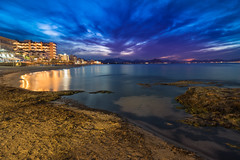 Can picafort sunset (David S.M.) Tags: travel blue sunset sea beach water night clouds canon landscape lights spain sand rocks europe sony mallorca a7 24105mm canonef24105mmf4lisusm