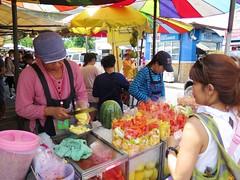 Fruit Vendor (Vina Chen) Tags: fruit thailand bangkok vendor fruitstand bkk vinathaitravel
