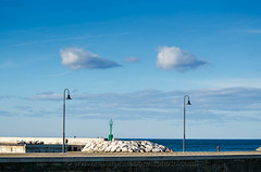 Twin clouds on Senigallia harbor (Mauro Taraborelli) Tags: winter sea italy cloud lighthouse harbor streetlight europe mediterranean afternoon streetlamp marche senigallia adriatic ancona nikond7000