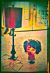 Moving A Head (creepingvinesimages - struggling to keep up!) Tags: blue texture lamp colors yellow samsung indoors wig topaz hss mannequinhead restyle pse14 snapseed galaxys7edge