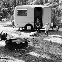 Trillium Camper Escape (chrismeder) Tags: family camping bw 120 mamiya film kids pacific northwest adventure hp5 medium format trailer camper ilford c330
