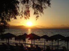 Last light (Argyro...) Tags: sunset sea sky cloud tree beach water umbrella seaside greece chalcis   alykesdrossias