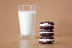 Homemade Oreos (M. Klasan) Tags: home kitchen glass cookies milk candy oven sweet chocolate sugar made delicious pastry vanilla oreos bake