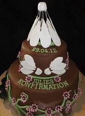 Badminton cake (Kageting.dk) Tags: flower cake chocolate caketopper kage fondant fdselsdagskage gumpasteflower sugarmodelling