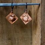 handmade copper swan earrings thumbnail