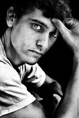 Think (NROmil) Tags: portrait white black blanco eyes flickr noir retrato negro pablo bn mirada bianco
