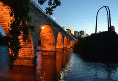 Stone Arch Bridge (jpellgen) Tags: bridge usa minnesota night america river mississippi evening nikon midwest downtown minneapolis east 1855mm twincities nikkor 2012 ids stanthony d3100