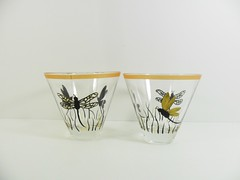 Dragonfly Martini Glasses Stemless Hand Painted Set of 2 (Painting by Elaine) Tags: black glass gold glasses wine dragonflies dragonfly painted martini handpainted wineglasses barware martiniglasses barglasses handpaintedglass glasssware handpaintedwineglass paintedglassware paintingbyelaine goldwineglass