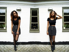 double trouble (ChantalSeiter) Tags: me girl fashion shirt hair tights skirt redlips asos hnm photoscape