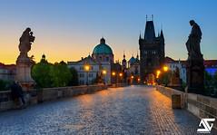 Sunrise in Prague (A.G. Photographe) Tags: morning bridge sunrise nikon raw republic czech prague sainteanne charles praha ag nikkor fx hdr golgotha matin anto d800 karlvmost tchque xiii charlesiv 2470 starmsto photomatix peterparler pita jeannpomucne antoxiii hdr5raw agphotographe saintjosephetlenfantjsus