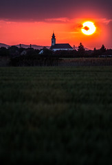 Countryside sunset (harcimarci) Tags: sunset church its grass canon dark eos countryside cloudy maybe bit 70200 f4l 60d