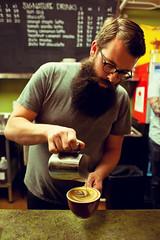 2nd Place Latte Art (Blush Response) Tags: portrait coffee beard washington spokane hipster latte keaton indaba