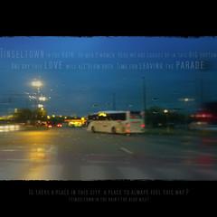 Tinseltown in the rain (jinterwas) Tags: rain square evening publictransportation belgium free cc frame creativecommons antwerp avond antwerpen regen throughawindow openbaarvervoer kader vierkant freetouse noorderlaan tinseltownintherain dooreenraam zwartkader