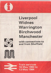Train Services from 16th May 1983 to 13th May 1984 Liverpool to Manchester Via Warrington (Central) (Luke O'Rourke) Tags: liverpool map birkenhead southport timetable wirral merseyside merseyrail