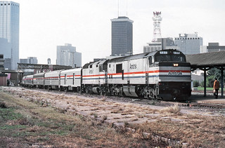 Amtrak Silver Meteor with GE P30CH (Pooch) locomotive  # 707, in the lead with a F40PH following at Tampa Union Station, Florida, February 1984