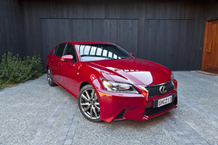 Lexus GS350 F Sport in Crimson - by black wall