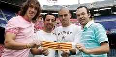 The Captains (afootballblog) Tags: victorvaldes carlespuyol xavihernandez andresiniesta flickrandroidapp:filter=none