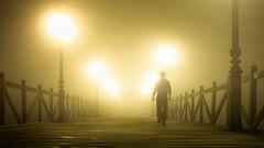 Niebla / Fog (Hernan Piera) Tags: wood bridge mist man night walking puente photography lights luces noche pier muelle photo dock madera foto photographer image walk pic embarcadero caminar fotografia neblina hombre imagen fotografo visibility berth espigon visibilidad atracadero hombrecaminando hernanpiera
