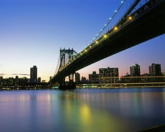 Manhattan Bridge from Brooklyn Bridge Park (Shawn Hoke) Tags: nyc longexposure film brooklyn night slidefilm manhattanbridge eastriver 4x5 largeformat fujiprovia100 epsonv500 brooklybridgepark boatlighttrails toyo45aii nycskylineatnight manhattanbridgeatnight shawnhoke schneider120mmf56 stitchedscans