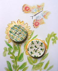ceramic buttons, painted flowers and plaid (Cynthia Cranes Art and Pottery) Tags: ceramic handmade buttons cynthiacrane frenchfaience