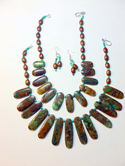 Earthy Turquoise Necklaces (floyfreestyle) Tags: brown jasper handmade earth turquoise earrings necklaces greenturquoise
