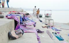 Leaving the old (krissen) Tags: india color colour festival shoes religion clothes celebration varanasi colourful krishna hinduism holi indien banaras ghat northindia 14vtindien banarasmars