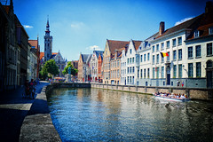 Canal banks in Bruges, Belgium (` Toshio ') Tags: city reflection history water canal europe european belgium brugge medieval belltower bruges europeanunion toshio xe2 fujixe2