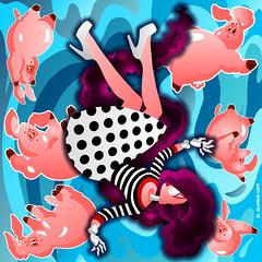 FREE FALLIN' (Julio Roberts) Tags: wallpaper home illustration print poster drawing falling pigs drawn decor freefall julioroberts juliorobertsdrawn
