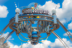 Tomorrowland (mbone1973) Tags: world blue sky cloud color sign clouds colorful magic kingdom disney land waltdisneyworld tomorrow walt tomorrowland entry magickingdom