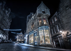 The Old Town (ScottSimPhotography) Tags: road street old city uk cold building night buildings lights evening scotland town fantastic edinburgh cityscape nightscape britain sony capital victorian harrypotter medieval fantasy royalmile drama citycenter oldtown waverley cockburnstreet baronial a6000