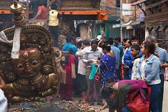 Giving Offering (Mark S Weaver) Tags: travel kathmandu patan nepa bisketjatrafestival