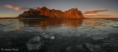 Luz en Stokksnes. (Antonio Puche) Tags: sunset mountain ice landscape atardecer iceland islandia nikon pano paisaje panoramic montaa hielo panormica nikon173528 stokksnes nikond800 antoniopuche