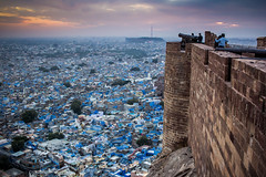 View of Jodhpur's Blue City (marcusfornell) Tags: travel blue india tourism asia asien cityscape fort painted traditional majestic coloured fortress indien tinted oldcity rajasthan jodhpur cityview southasia mehrangarh bluecity brahmin bluehouses sdasien