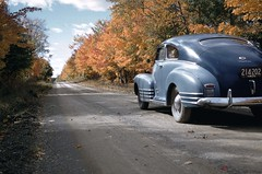 Glorious Kodachrome, New Brunswick, 1959 (F. Neil S.) Tags: canada film rural fallcolor kodak slide 828 chevy transparency dirtroad 50s maritimes fleetline kodacrome