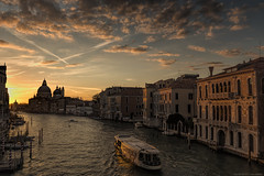 Sunrise in Venice (MarkWaidson) Tags: venice sky italy clouds sunrise boats canal grand ponte accademia