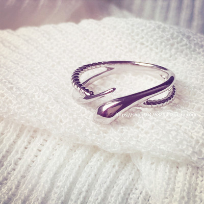 Smooth clean simple snake ring in sterling silver ring