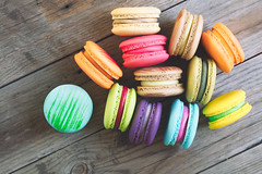Macarons (Patrick Foto ;)) Tags: wood pink blue food white france color green cookies yellow cake closeup vintage french table dessert wooden strawberry colorful cookie flavor sweet chocolate top pastel background traditional cream tasty nobody stack sugar gourmet delicious biscuit macaroon pile bakery snack pastry macaroons macarons macaron
