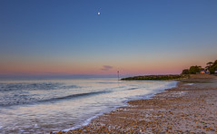 Pick A Pebble To Cover The Moon (nicklucas2) Tags: beach groyne moon pebble sea seascape seaside solent